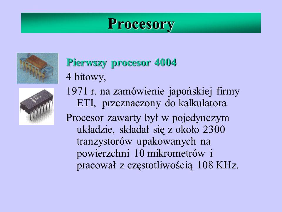 Procesory Pierwszy procesor 4004 4 bitowy, 1971 r. na zamówienie japońskiej firmy ETI, przeznaczony do kalkulatora Procesor zawarty był w pojedynczym