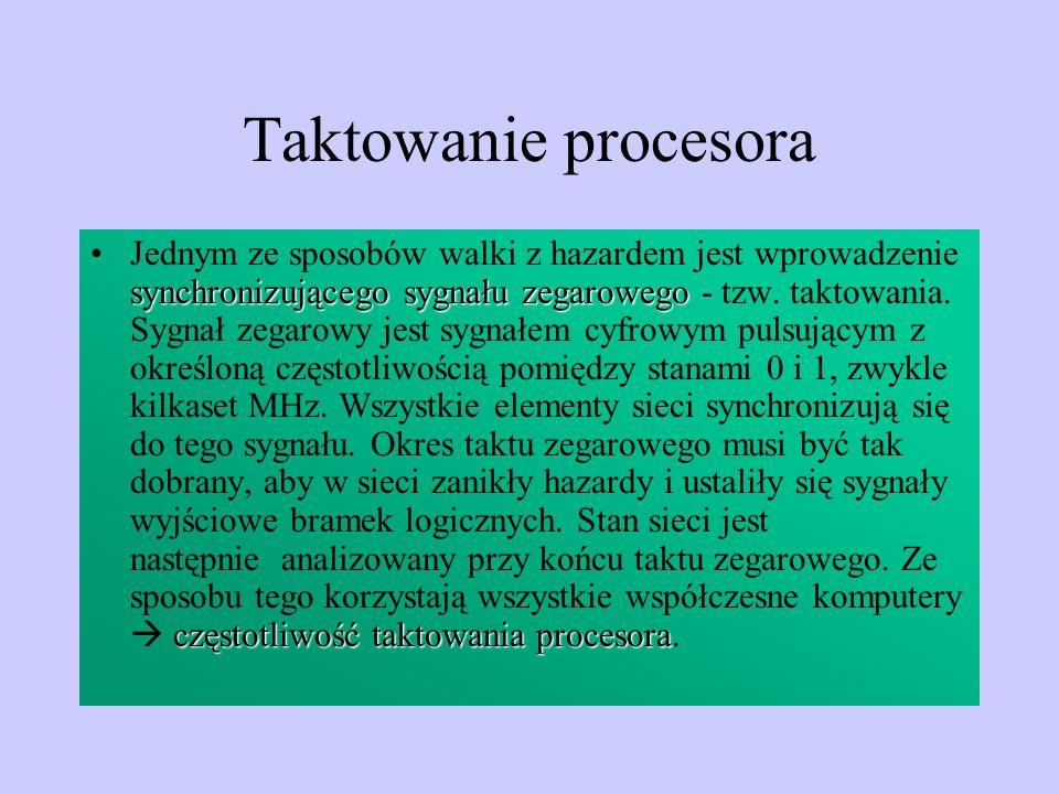 Taktowanie procesora synchronizującego sygnału zegarowego częstotliwość taktowania procesoraJednym ze sposobów walki z hazardem jest wprowadzenie sync