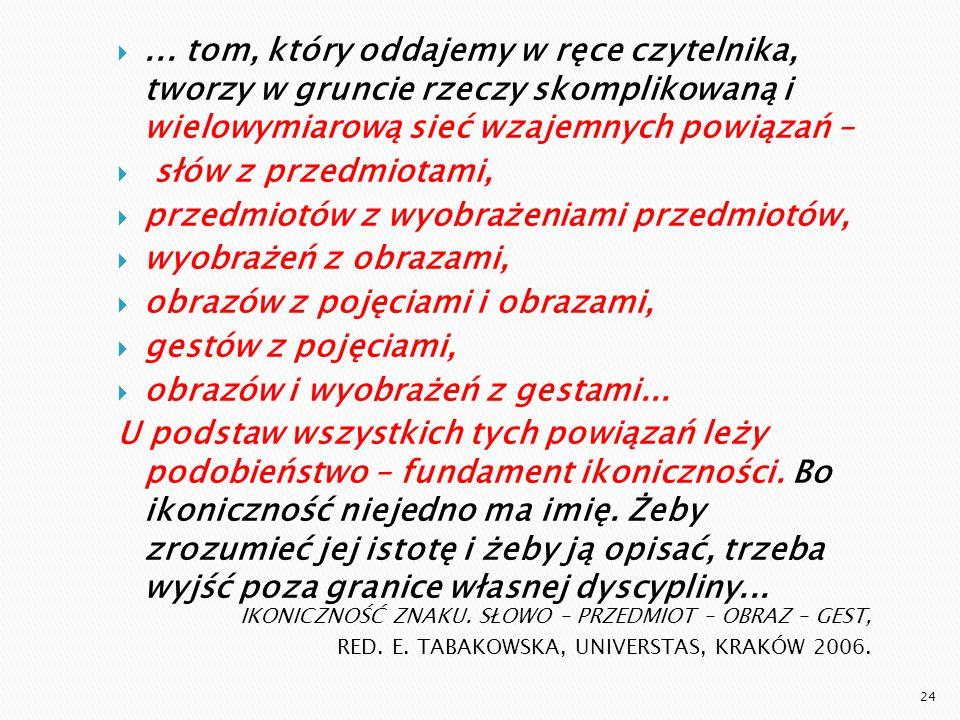 IKONICZNOŚĆ ZNAKU. SŁOWO – PRZEDMIOT – OBRAZ – GEST, RED. E. TABAKOWSKA, UNIVERSTAS, KRAKÓW 2006.... tom, który oddajemy w ręce czytelnika, tworzy w g