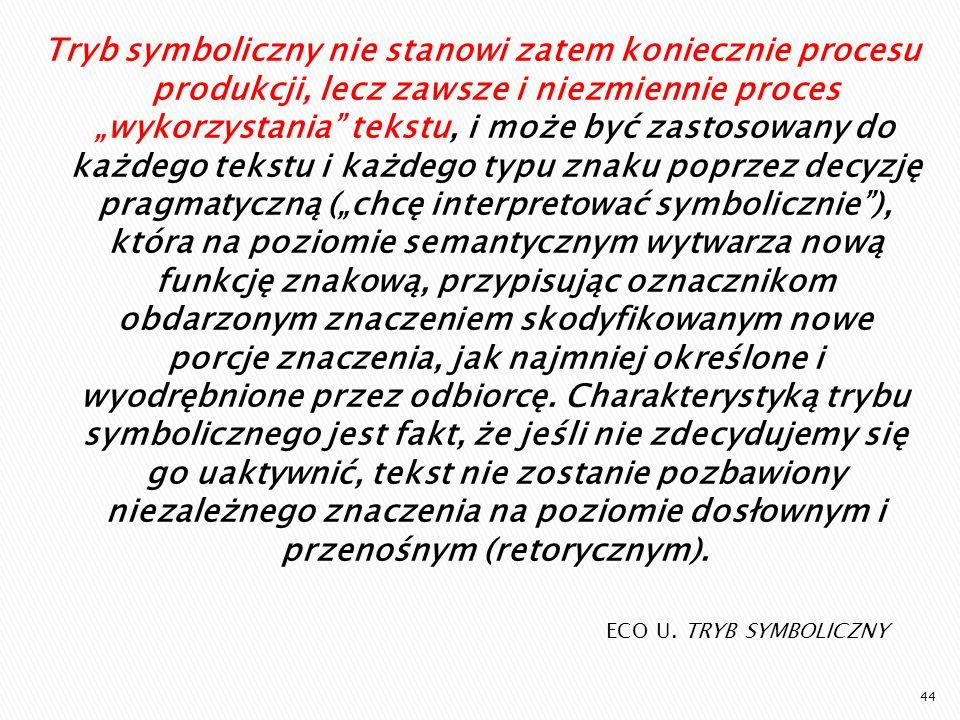 ECO U. TRYB SYMBOLICZNY Tryb symboliczny nie stanowi zatem koniecznie procesu produkcji, lecz zawsze i niezmiennie proces wykorzystania tekstu, i może