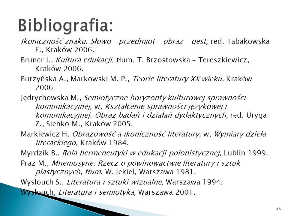 Ikoniczność znaku. Słowo – przedmiot – obraz – gest, red. Tabakowska E., Kraków 2006. Bruner J., Kultura edukacji, tłum. T. Brzostowska – Tereszkiewic