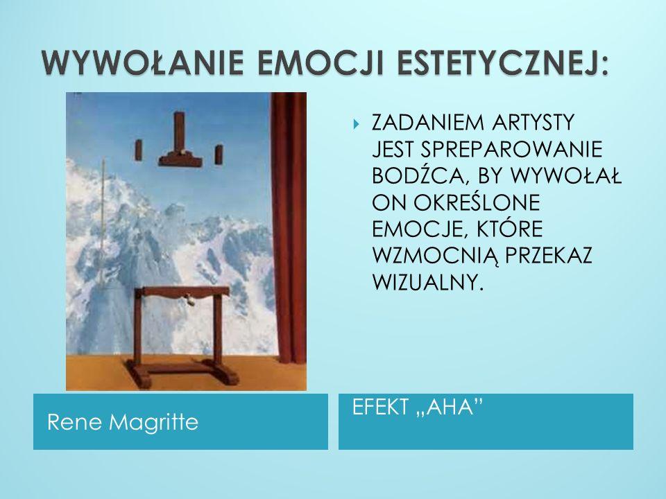 Rene Magritte EFEKT AHA ZADANIEM ARTYSTY JEST SPREPAROWANIE BODŹCA, BY WYWOŁAŁ ON OKREŚLONE EMOCJE, KTÓRE WZMOCNIĄ PRZEKAZ WIZUALNY.