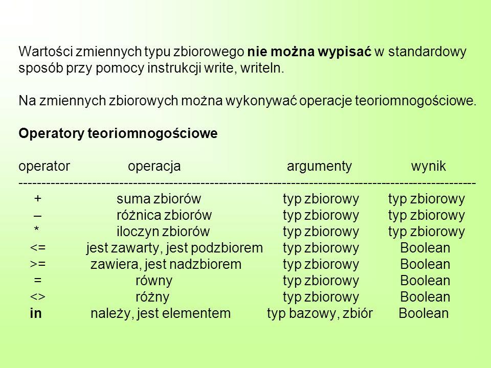 Wartości zmiennych typu zbiorowego nie można wypisać w standardowy sposób przy pomocy instrukcji write, writeln. Na zmiennych zbiorowych można wykonyw