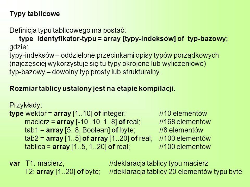 Typy tablicowe Definicja typu tablicowego ma postać: type identyfikator-typu = array [typy-indeksów] of typ-bazowy; gdzie: typy-indeksów – oddzielone