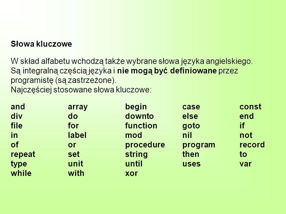 Słowa kluczowe W skład alfabetu wchodzą także wybrane słowa języka angielskiego.
