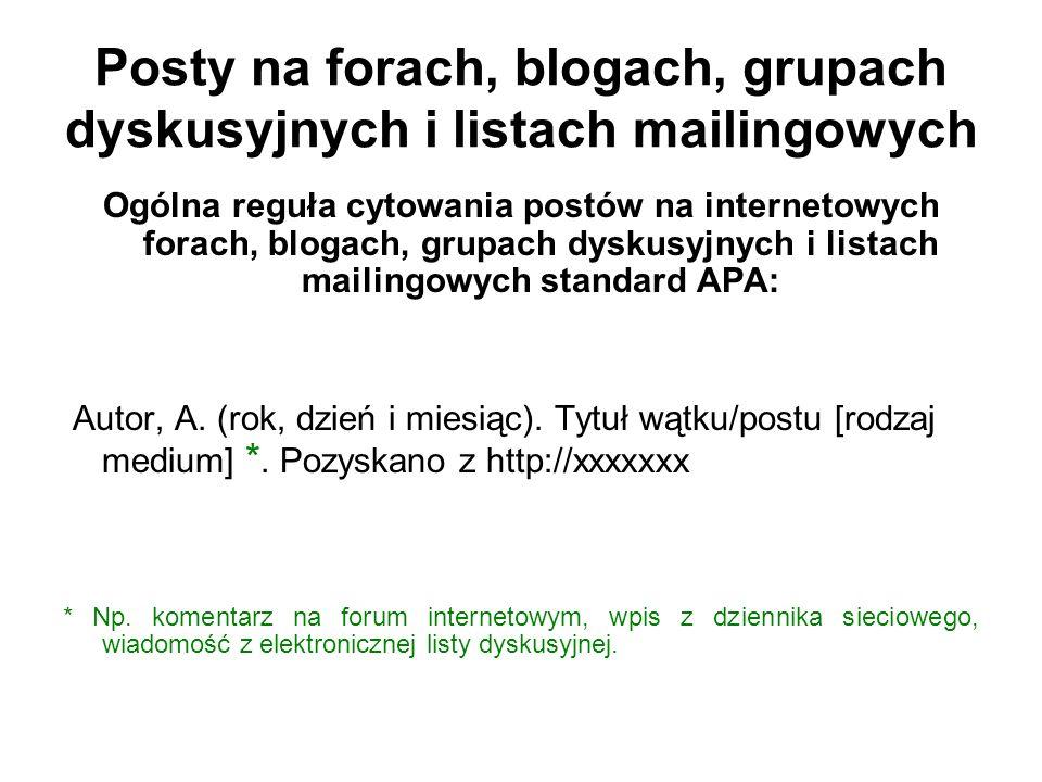 Posty na forach, blogach, grupach dyskusyjnych i listach mailingowych Ogólna reguła cytowania postów na internetowych forach, blogach, grupach dyskusy