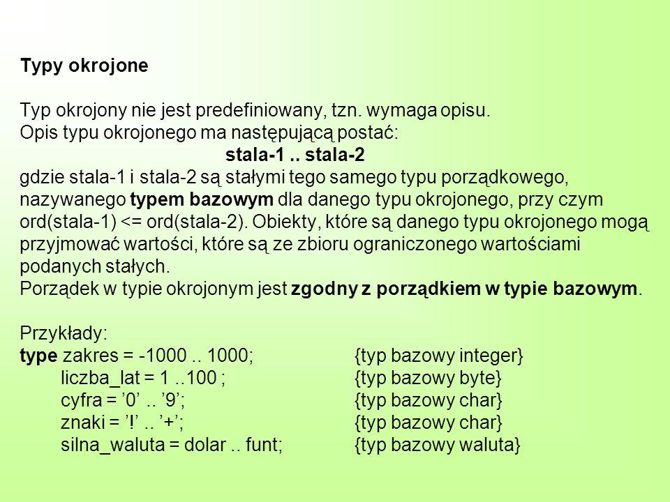 Definiowanie typów Definicja typów ma postać: type sekwencja-definicji-typów gdzie każdy element sekwencji-definicji-typów ma postać: identyfikator-typu = opis-typu; identyfikator-typu to identyfikator, a opis-typu to inny identyfikator lub opis typu, który jest niestandardowy.