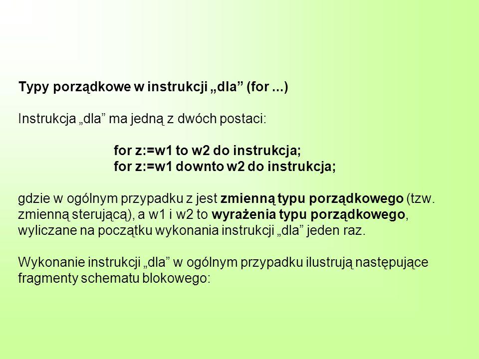Typy porządkowe w instrukcji dla (for...) Instrukcja dla ma jedną z dwóch postaci: for z:=w1 to w2 do instrukcja; for z:=w1 downto w2 do instrukcja; g