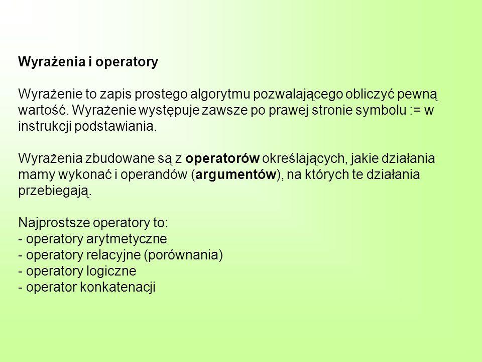 Operatory arytmetyczne Operatory Typy argumentówTyp wyniku ---------------------------------------------------------------------------------------------------- -- +, – (jednoargumentowy) całkowitycałkowity rzeczywistyrzeczywisty +, –, * całkowitycałkowity rzeczywistyrzeczywisty / całkowityzawsze rzeczywistyrzeczywisty div, mod całkowitycałkowity div wylicza iloraz z dzielenia dwóch liczb całkowitych, np.