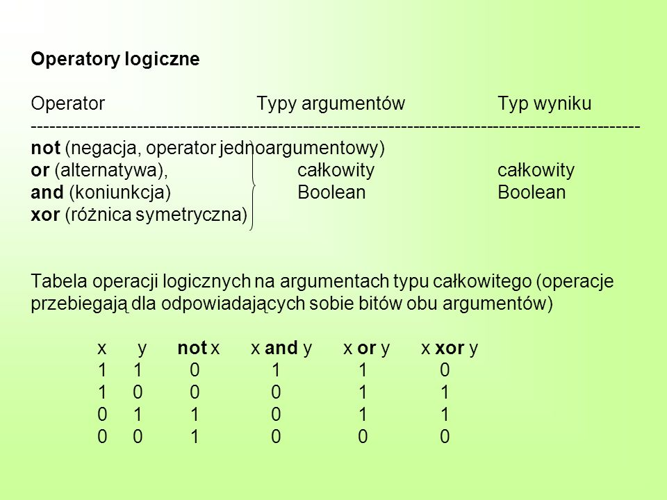 Operatory logiczne Operator Typy argumentówTyp wyniku --------------------------------------------------------------------------------------------------- not (negacja, operator jednoargumentowy) or (alternatywa),całkowitycałkowity and (koniunkcja)BooleanBoolean xor (różnica symetryczna) Tabela operacji logicznych na argumentach typu całkowitego (operacje przebiegają dla odpowiadających sobie bitów obu argumentów) x y not x x and y x or y x xor y 1 1 0 1 1 0 1 0 0 0 1 1 0 1 1 0 1 1 0 0 1 0 0 0