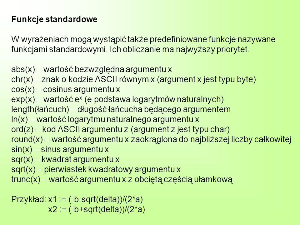 Funkcje standardowe W wyrażeniach mogą wystąpić także predefiniowane funkcje nazywane funkcjami standardowymi.