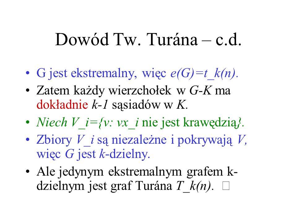 Dowód Tw.Turána – c.d. G jest ekstremalny, więc e(G)=t_k(n).
