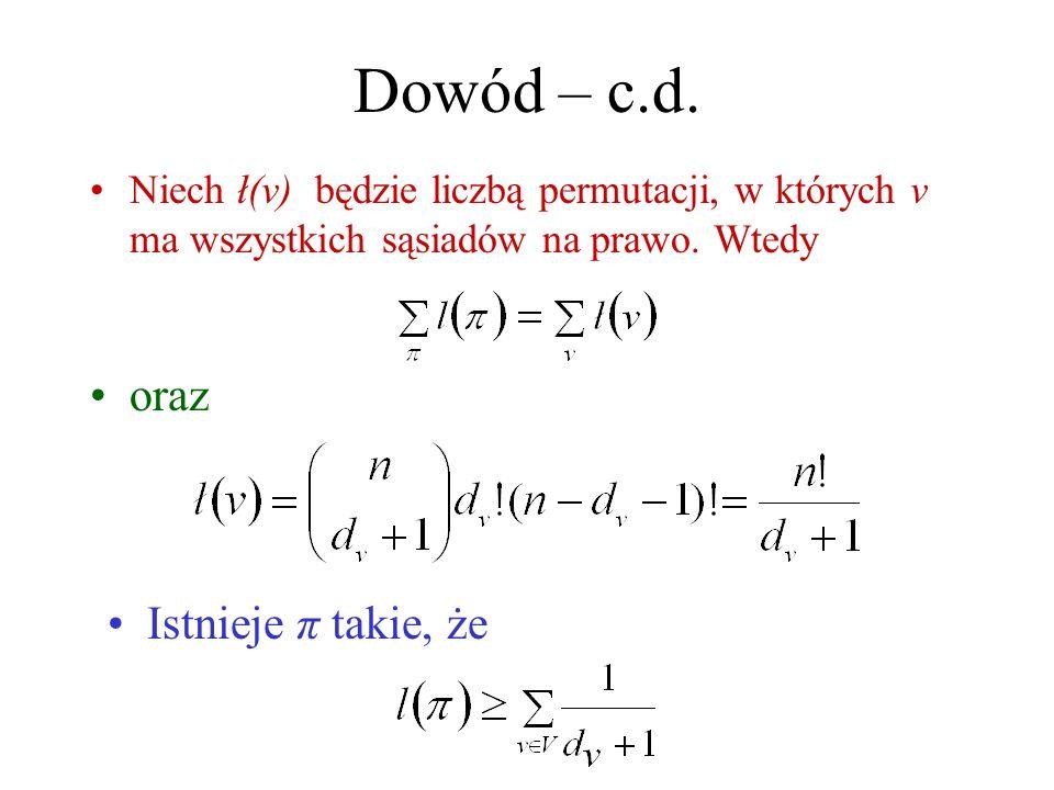 Dowód – c.d.Niech ł(v) będzie liczbą permutacji, w których v ma wszystkich sąsiadów na prawo.