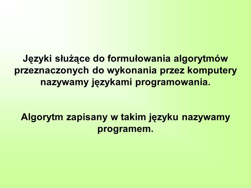 Języki służące do formułowania algorytmów przeznaczonych do wykonania przez komputery nazywamy językami programowania. Algorytm zapisany w takim język