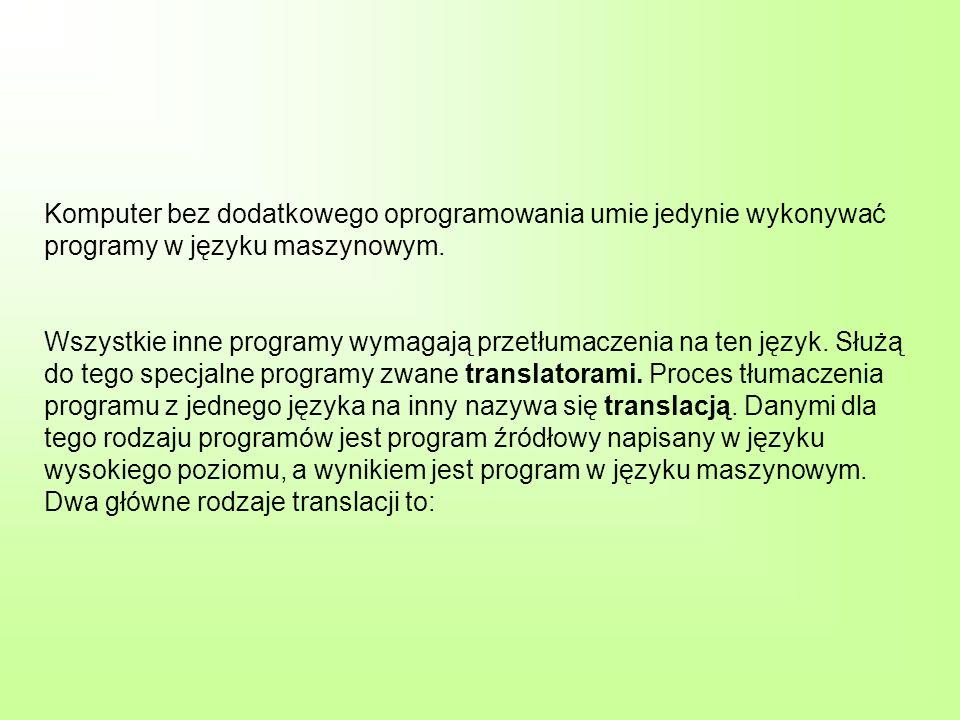Komputer bez dodatkowego oprogramowania umie jedynie wykonywać programy w języku maszynowym. Wszystkie inne programy wymagają przetłumaczenia na ten j