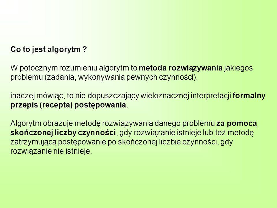 Co to jest algorytm ? W potocznym rozumieniu algorytm to metoda rozwiązywania jakiegoś problemu (zadania, wykonywania pewnych czynności), inaczej mówi