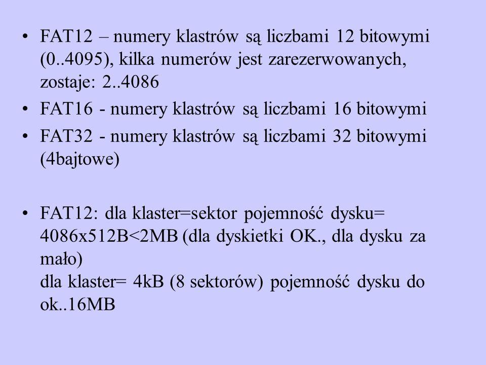 FAT12 – numery klastrów są liczbami 12 bitowymi (0..4095), kilka numerów jest zarezerwowanych, zostaje: 2..4086 FAT16 - numery klastrów są liczbami 16