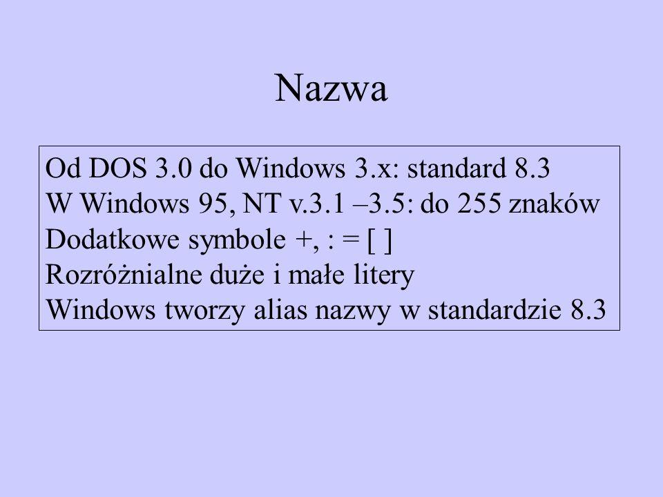 Nazwa Od DOS 3.0 do Windows 3.x: standard 8.3 W Windows 95, NT v.3.1 –3.5: do 255 znaków Dodatkowe symbole +, : = [ ] Rozróżnialne duże i małe litery