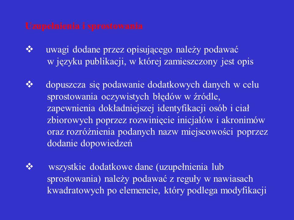 Przykład opisu artykułu w wydawnictwie ciągłym 1. WĘDZIK, Zofia. Kawa czy herbata?,,Nowa Szkoła 2004, nr 1, s. 25-27. 2. WĘDZIK, Zofia. Kawa czy herba