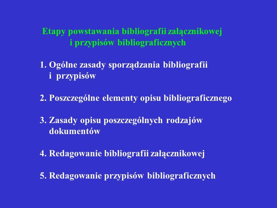 Normy związane z tematem PN-79/N-01222/07 Kompozycja wydawnicza książki. Bibliografia załącznikowa PN-78/N-01222/04 Kompozycja wydawnicza książki. Mat