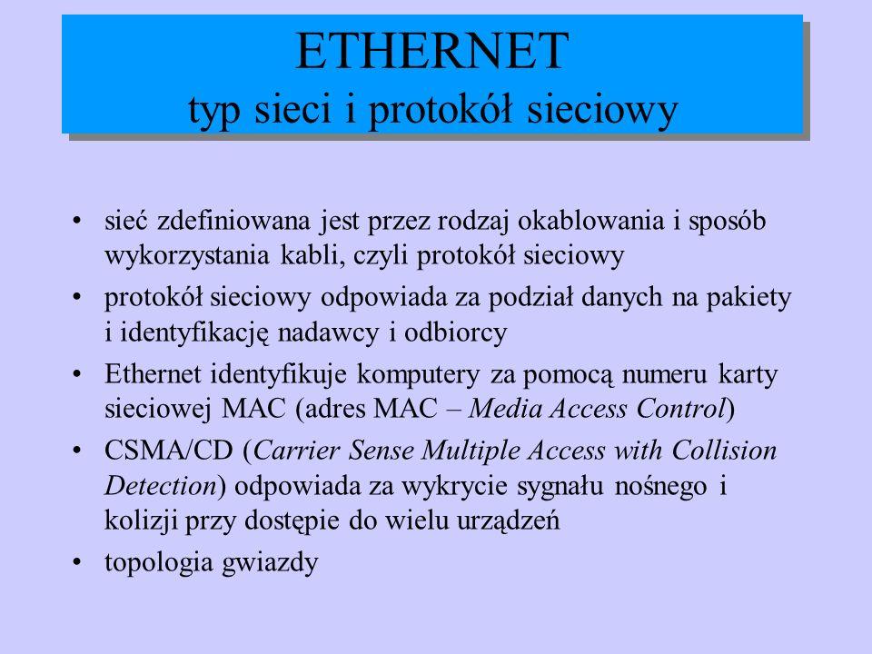ETHERNET typ sieci i protokół sieciowy sieć zdefiniowana jest przez rodzaj okablowania i sposób wykorzystania kabli, czyli protokół sieciowy protokół