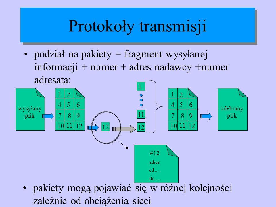 Protokoły transmisji podział na pakiety = fragment wysyłanej informacji + numer + adres nadawcy +numer adresata: wysyłany plik 1 2 456 987 10 11 12 11