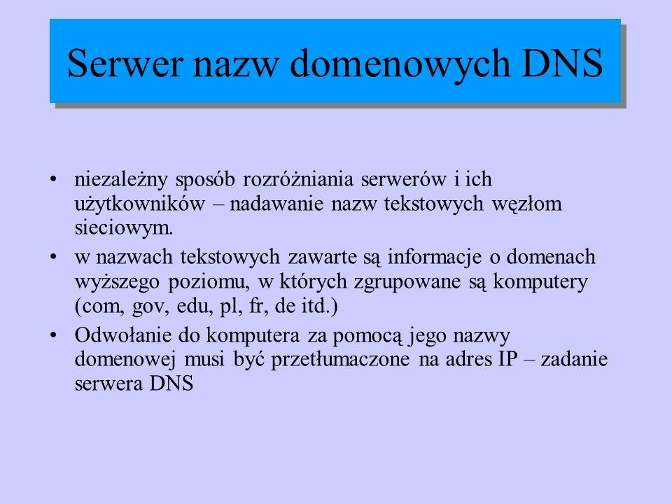 Serwer nazw domenowych DNS niezależny sposób rozróżniania serwerów i ich użytkowników – nadawanie nazw tekstowych węzłom sieciowym. w nazwach tekstowy