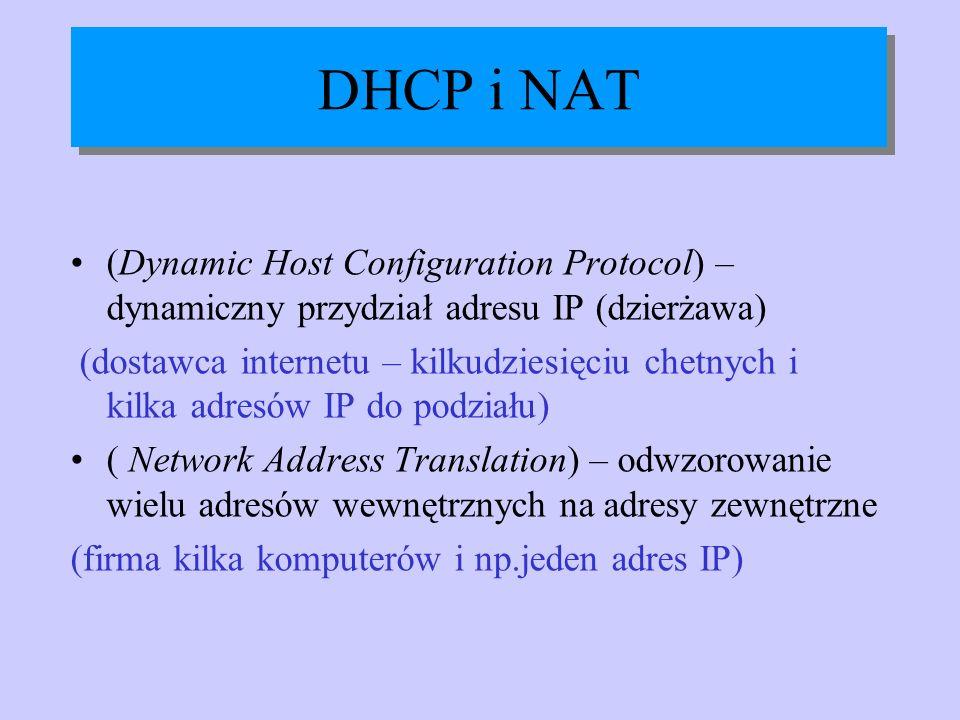 DHCP i NAT (Dynamic Host Configuration Protocol) – dynamiczny przydział adresu IP (dzierżawa) (dostawca internetu – kilkudziesięciu chetnych i kilka a