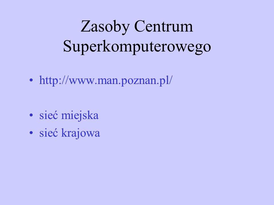Zasoby Centrum Superkomputerowego http://www.man.poznan.pl/ sieć miejska sieć krajowa