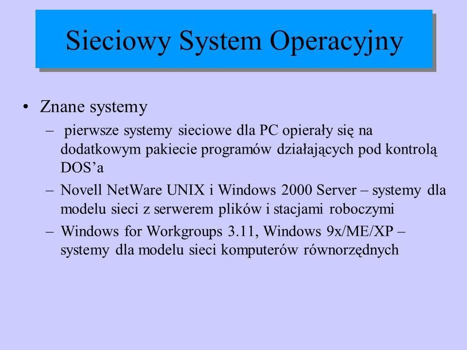 Sieciowy System Operacyjny Znane systemy – pierwsze systemy sieciowe dla PC opierały się na dodatkowym pakiecie programów działających pod kontrolą DO