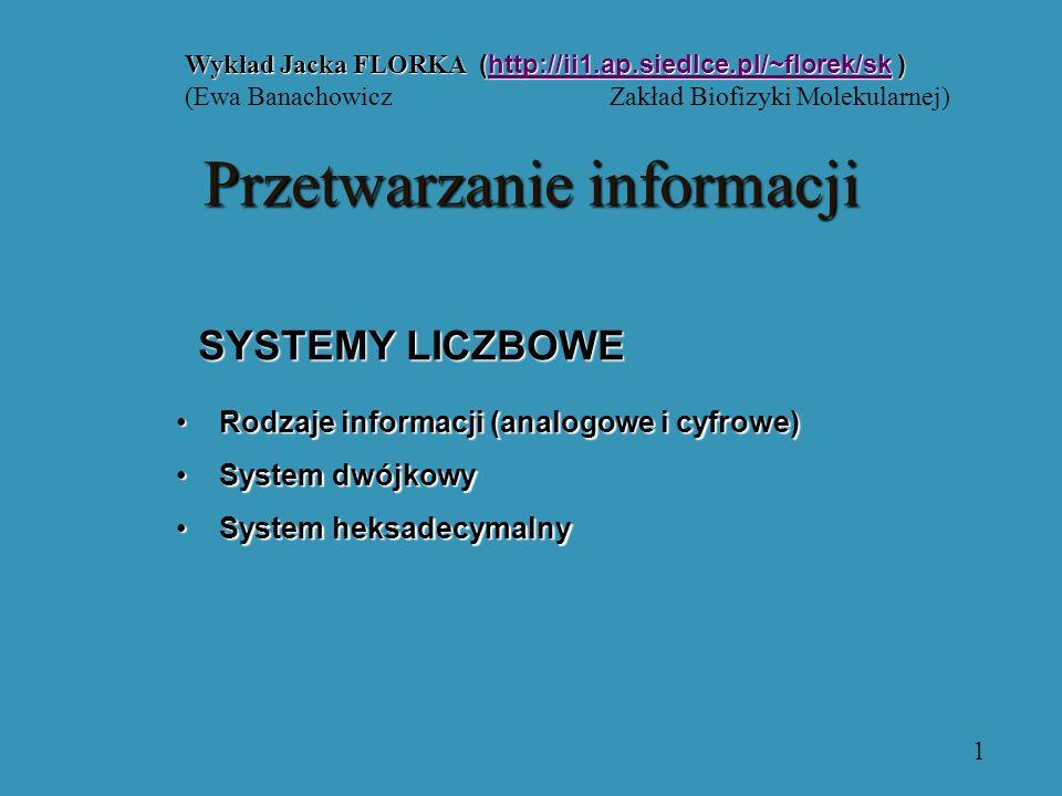 SYSTEMY LICZBOWE Wykład Jacka FLORKA (http://ii1.ap.siedlce.pl/~florek/sk ) http://ii1.ap.siedlce.pl/~florek/sk (Ewa Banachowicz Zakład Biofizyki Molekularnej) Rodzaje informacji (analogowe i cyfrowe)Rodzaje informacji (analogowe i cyfrowe) System dwójkowySystem dwójkowy System heksadecymalnySystem heksadecymalny 1 Przetwarzanieinformacji Przetwarzanie informacji