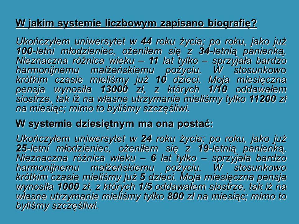 W jakim systemie liczbowym zapisano biografię.