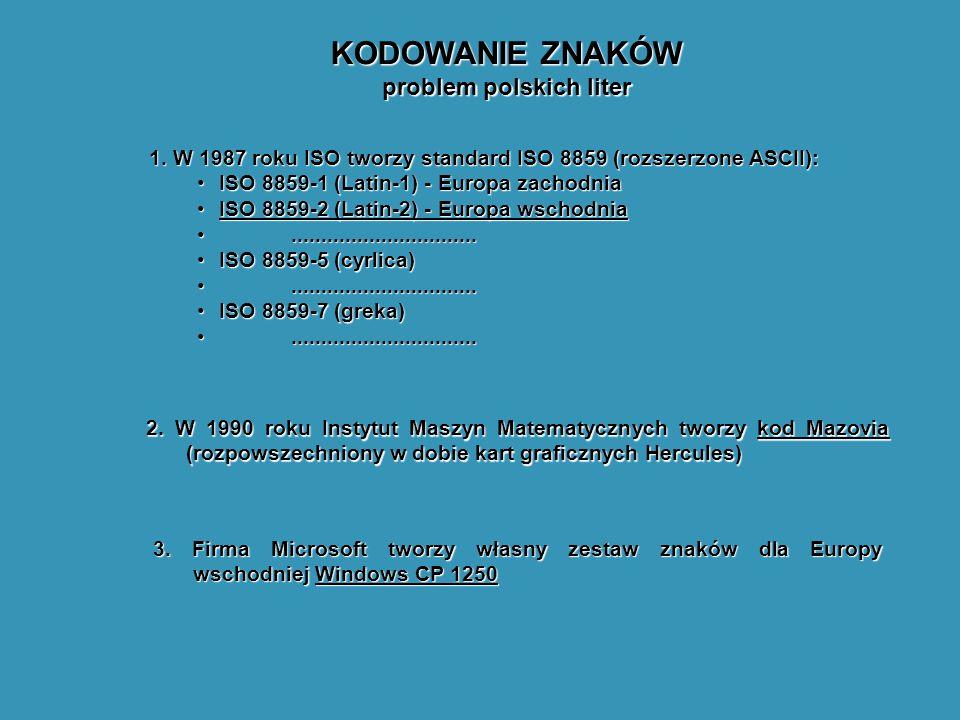 KODOWANIE ZNAKÓW problem polskich liter 1. W 1987 roku ISO tworzy standard ISO 8859 (rozszerzone ASCII): ISO 8859-1 (Latin-1) - Europa zachodniaISO 88