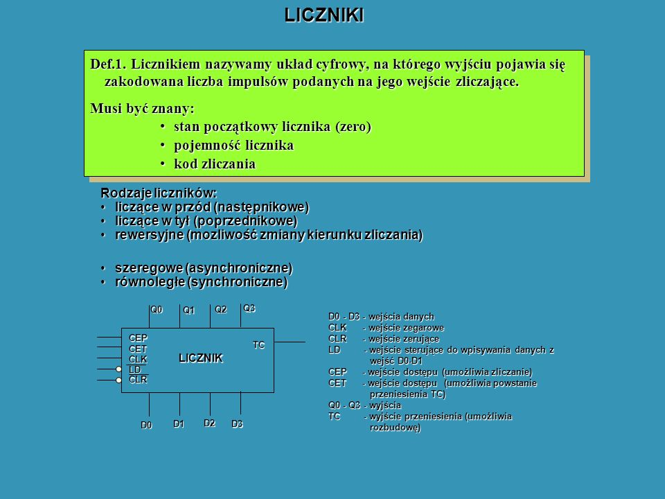 LICZNIKI Def.1. Licznikiem nazywamy układ cyfrowy, na którego wyjściu pojawia się zakodowana liczba impulsów podanych na jego wejście zliczające. Musi