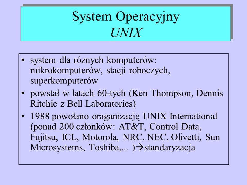 System Operacyjny UNIX system dla róznych komputerów: mikrokomputerów, stacji roboczych, superkomputerów powstał w latach 60-tych (Ken Thompson, Denni