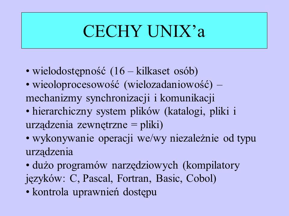 Struktura systemu Oprogramowanie użytkowe (edytory, kompilatory, itp.) Funkcje systemowe (open, close, wait, read, exit) Jądro Systemu Operacyjnego UNIX (zarządzanie pamięcią, procesami, urządzeniami, systemem plików) Sprzęt komputerowy (procesory, pamięć, dyski, itp.) użytkownicy końcowi tryb użytkowania tryb jądra złącze z użytkownikiem złącze funkcji systemowych