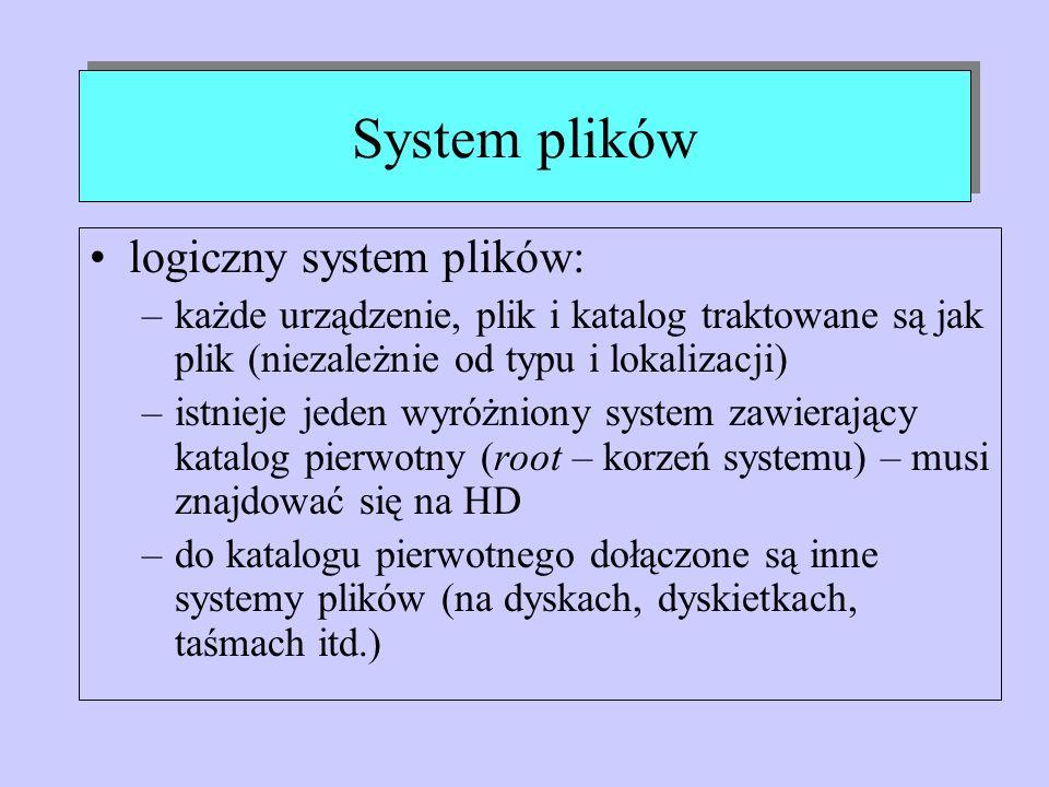 System plików logiczny system plików: –każde urządzenie, plik i katalog traktowane są jak plik (niezależnie od typu i lokalizacji) –istnieje jeden wyr