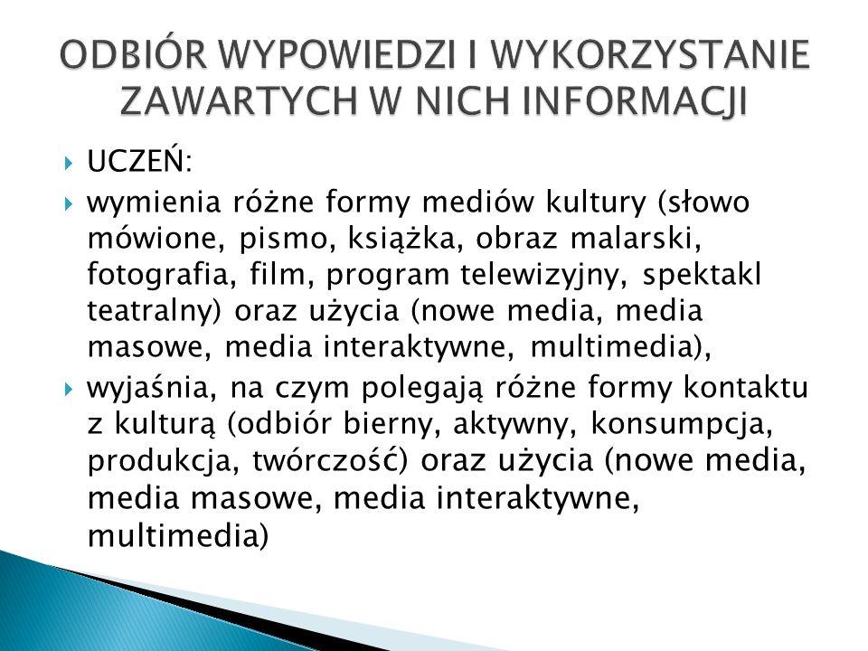 UCZEŃ: wymienia różne formy mediów kultury (słowo mówione, pismo, książka, obraz malarski, fotografia, film, program telewizyjny, spektakl teatralny)