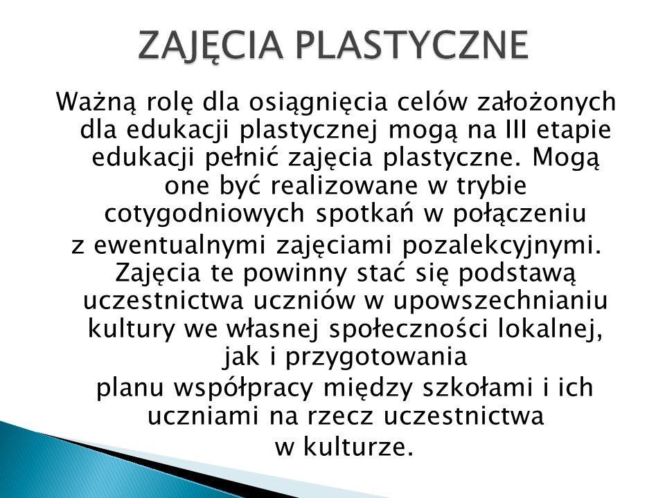 Ważną rolę dla osiągnięcia celów założonych dla edukacji plastycznej mogą na III etapie edukacji pełnić zajęcia plastyczne. Mogą one być realizowane w