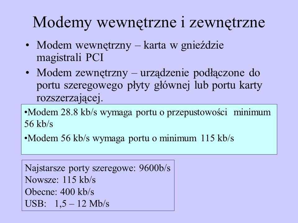 Modemy wewnętrzne i zewnętrzne Modem wewnętrzny – karta w gnieździe magistrali PCI Modem zewnętrzny – urządzenie podłączone do portu szeregowego płyty