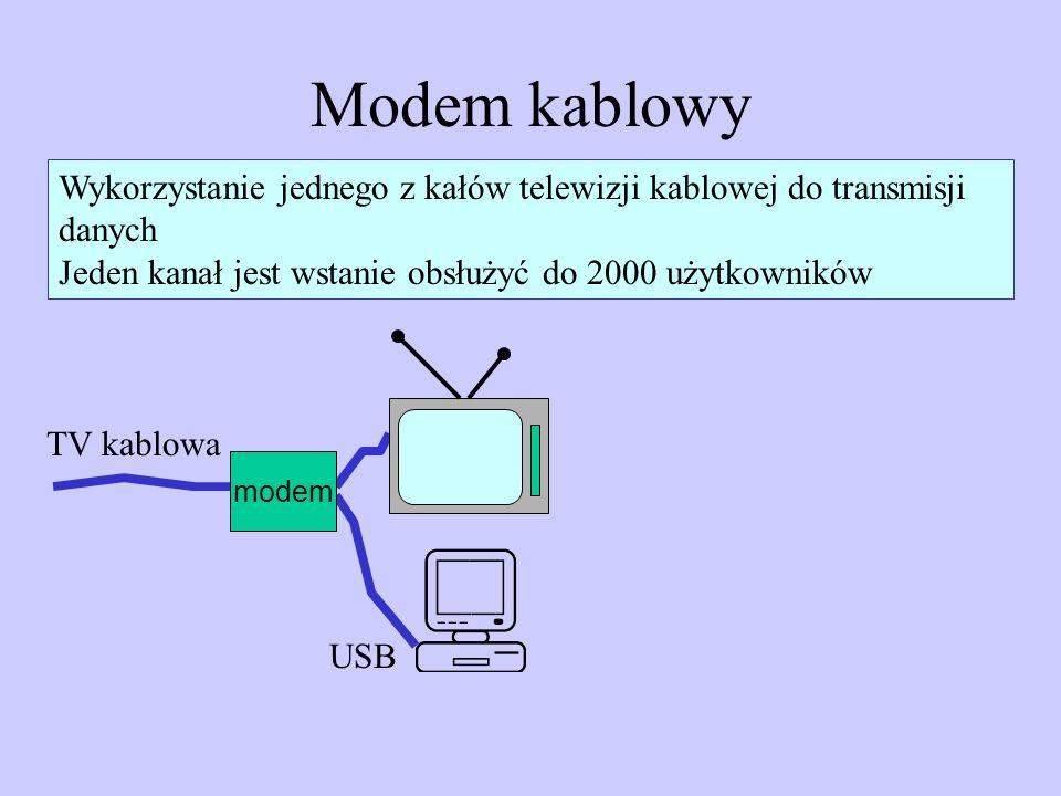 Modem kablowy Wykorzystanie jednego z kałów telewizji kablowej do transmisji danych Jeden kanał jest wstanie obsłużyć do 2000 użytkowników modem TV ka