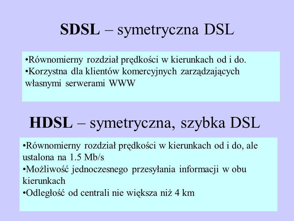SDSL – symetryczna DSL Równomierny rozdział prędkości w kierunkach od i do. Korzystna dla klientów komercyjnych zarządzających własnymi serwerami WWW