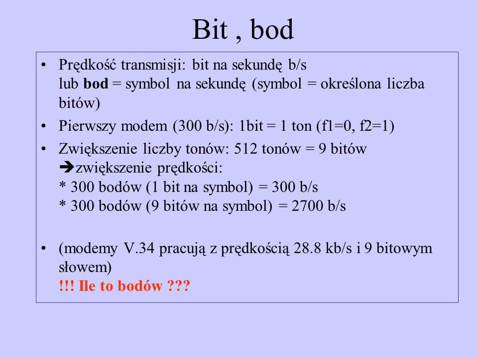 Bit, bod Prędkość transmisji: bit na sekundę b/s lub bod = symbol na sekundę (symbol = określona liczba bitów) Pierwszy modem (300 b/s): 1bit = 1 ton