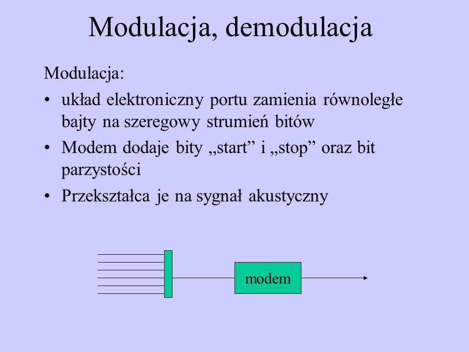 Modulacja, demodulacja Modulacja: układ elektroniczny portu zamienia równoległe bajty na szeregowy strumień bitów Modem dodaje bity start i stop oraz