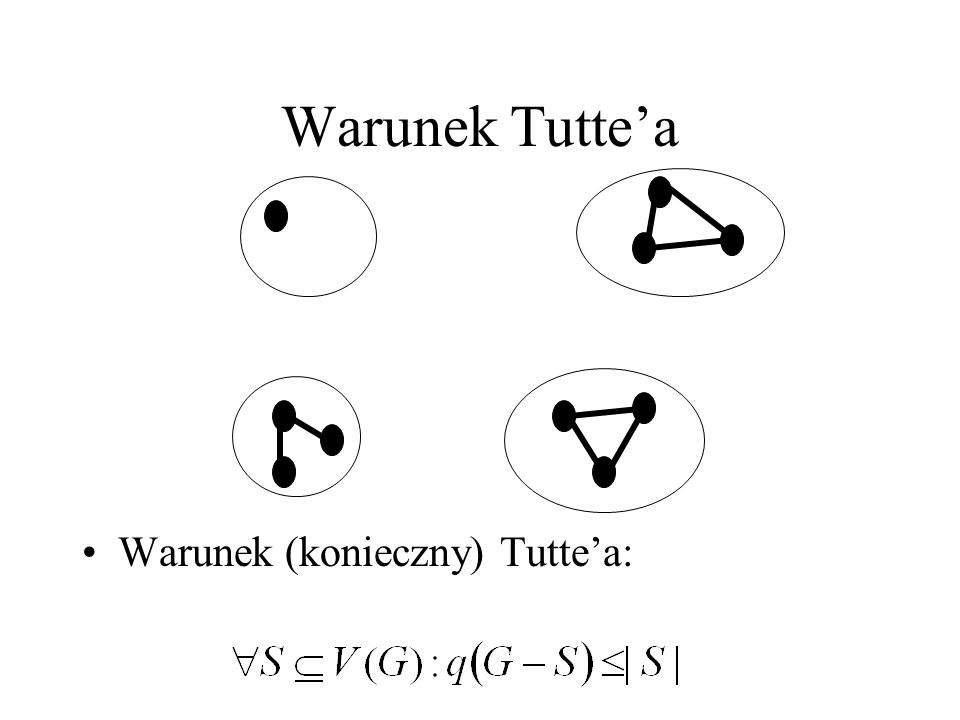 Warunek Tuttea |S|=2, 4 składowe nieparzyste w G-S – nie istnieje skojarzenie doskonałe. q(G) – liczba nieparzystych składowych S