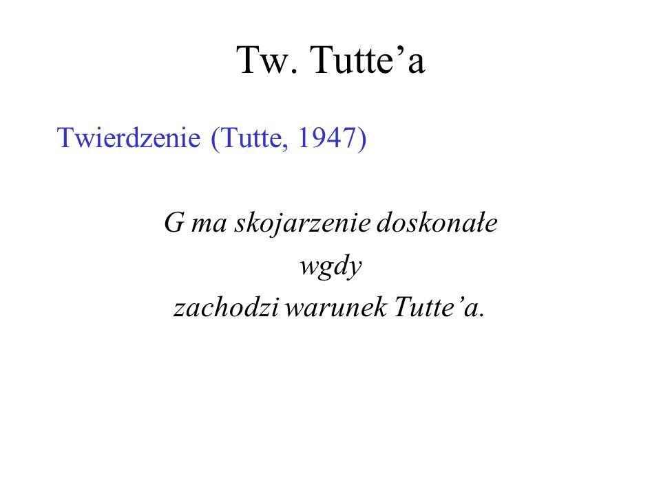 Warunek Tuttea Warunek (konieczny) Tuttea: