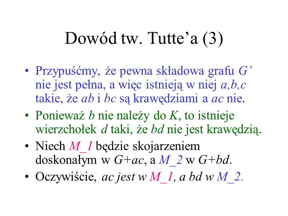 Dowód tw. Tuttea (2) K – zbiór wierzchołków o stopniu n-1 G=G-K Pokażemy, że w G wszystkie składowe są grafami pełnymi. Wtedy, ponieważ q(G) |K|, G bę
