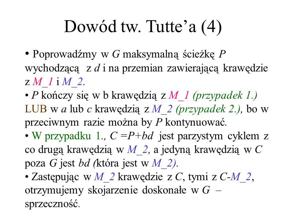 Dowód tw. Tuttea (3) Przypuśćmy, że pewna składowa grafu G nie jest pełna, a więc istnieją w niej a,b,c takie, że ab i bc są krawędziami a ac nie. Pon