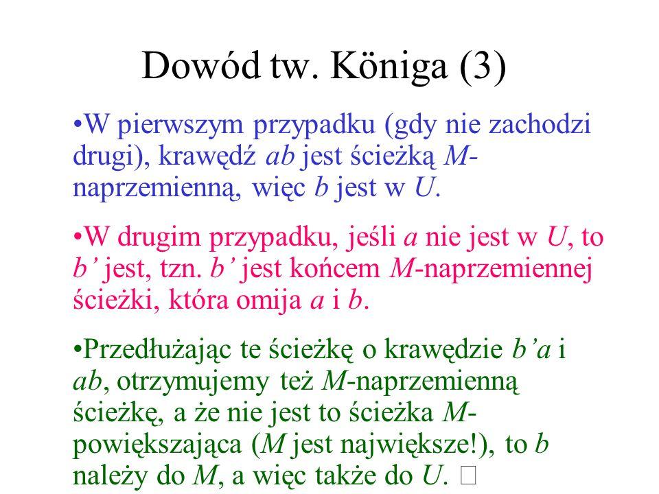 Dowód tw. Königa (2) Niech ab będzie krawędzią (a z A, a b z B). Pokażemy, że a lub b jest w U. Tak jest, gdy ab jest krawędzią skojarzenia M. W przec