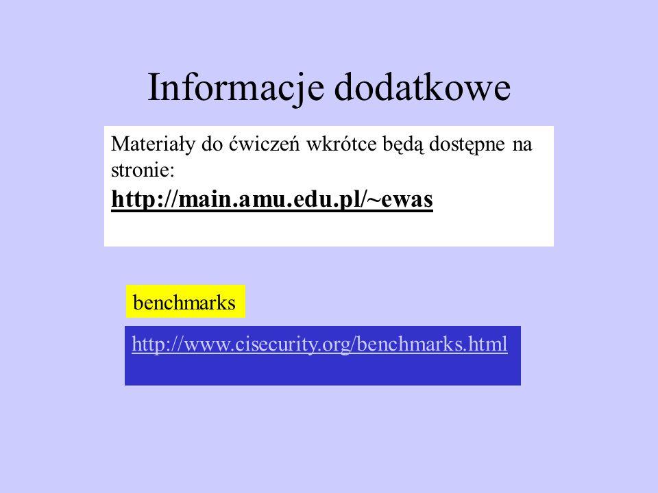 Informacje dodatkowe Materiały do ćwiczeń wkrótce będą dostępne na stronie: http://main.amu.edu.pl/~ewas http://www.cisecurity.org/benchmarks.html ben